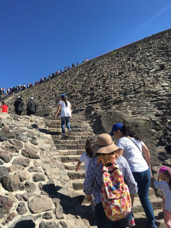Climbing the stairs at the Pyramid of the Sun