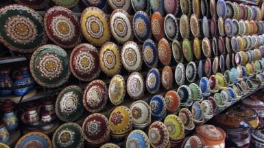 Bulgarian Troyan Pottery for sale outside Bachkovo Monastery