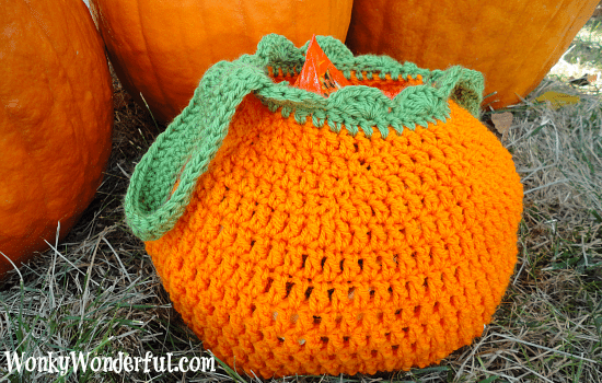 pumpkin crocheted bag sitting on the grass next to real pumpkins