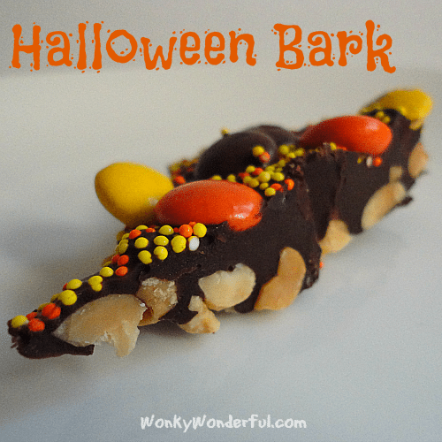 chocolate with nuts, Reeses pieces and sprinkles - photo text: halloween bark