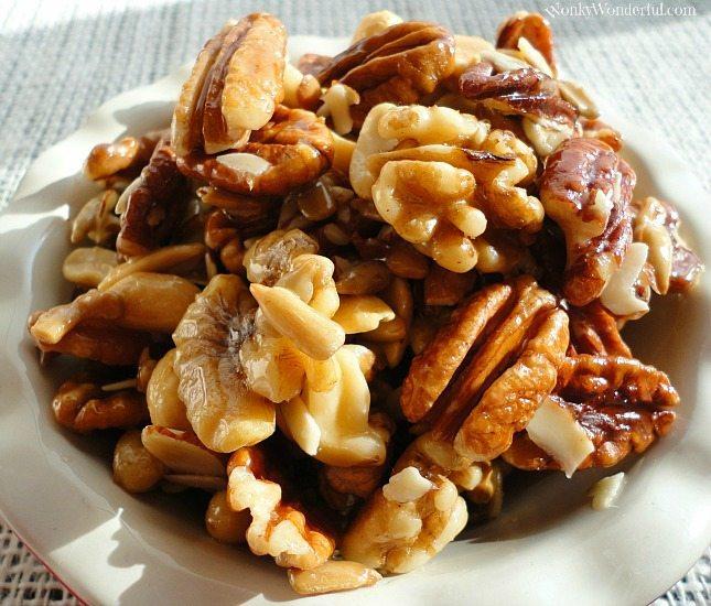 pecan and walnuts in dish