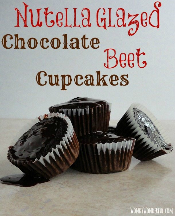 four Nutella Glazed Chocolate Beet Cupcakes with glaze dripping off, photo text: Nutella Glazed Chocolate Beet Cupcakes