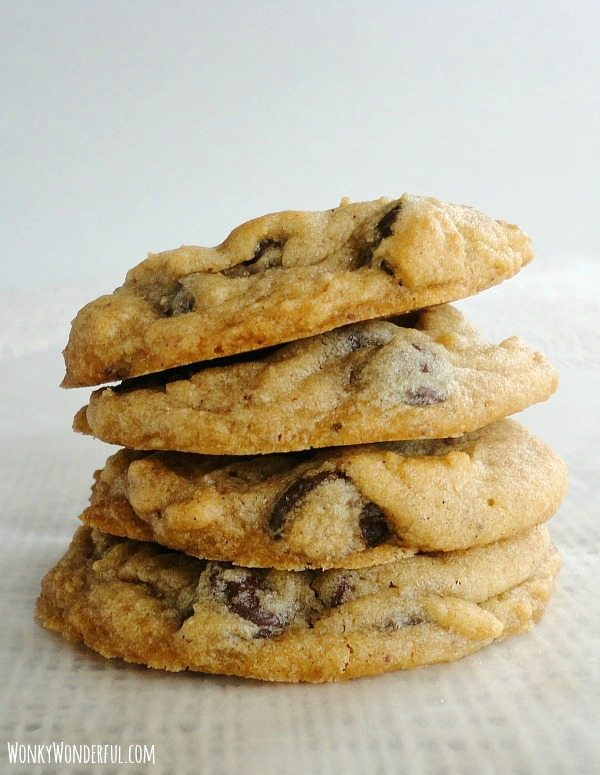 four Chocolate Chip Cookies in a stack