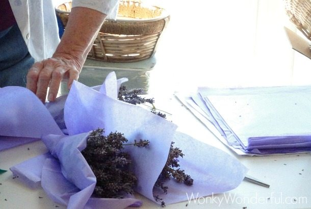 bunches of lavender being wrapped in light purple tissue paper
