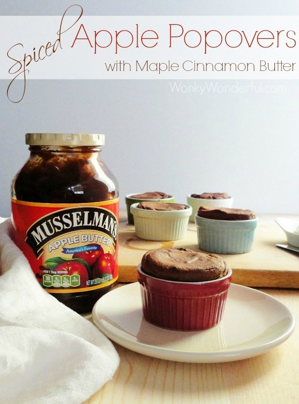 Spiced Apple Butter Popovers with Maple Cinnamon Butter Spread Recipe ::: wonkywonderful.com ::: #applebutterspin #giveaway