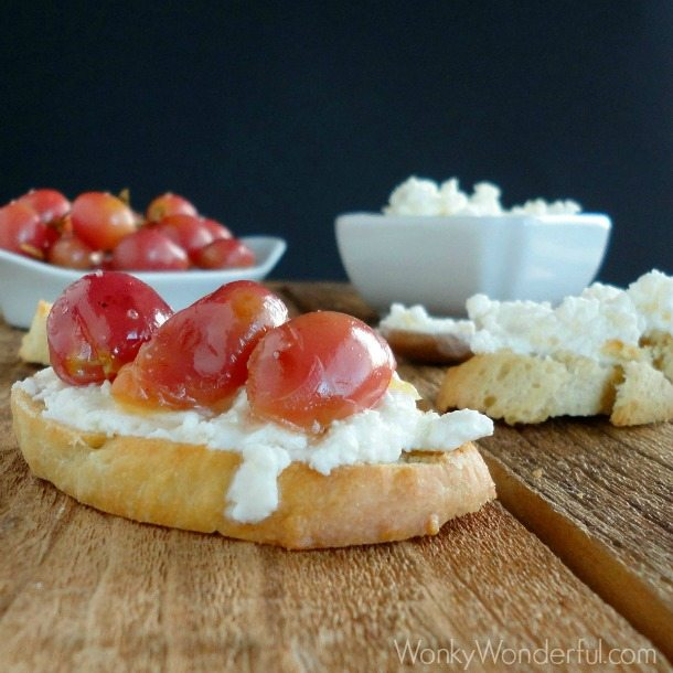 Crostini with Fresh Ricotta & Roasted Grapes