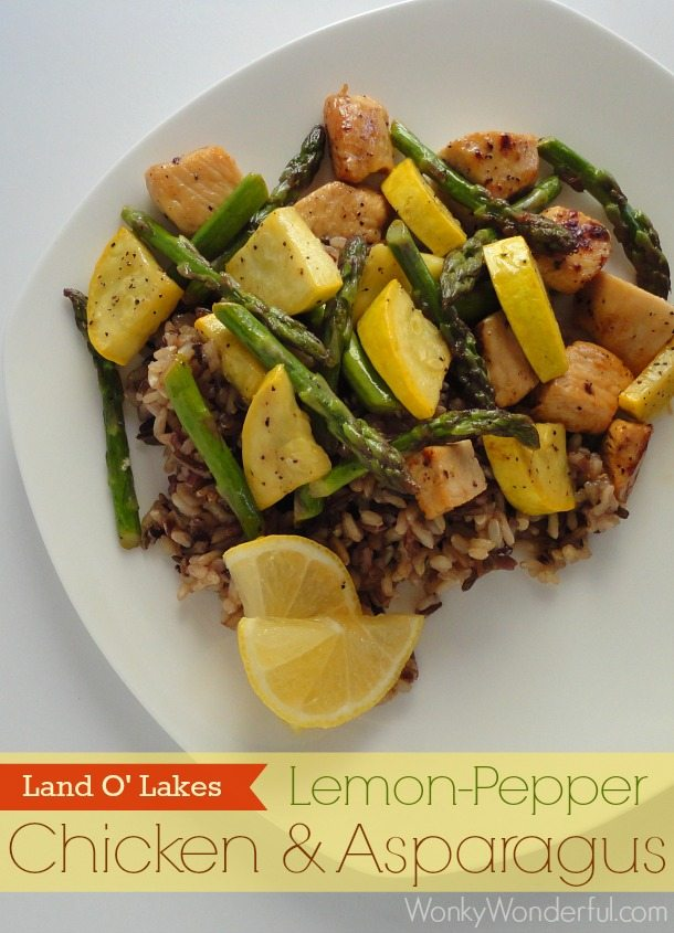 yellow squash, asparagus, rice and chicken on white plate