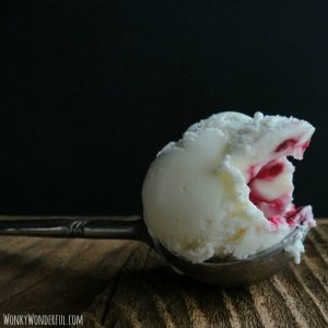 Creme Fraiche Ice Cream with Raspberry Swirl - wonkywonderful.com