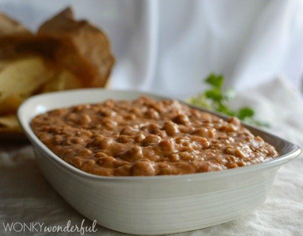 Homemade Bean Dip Recipe - Green Chilis - Pinto Beans - Appetizer - wonkywonderful.com
