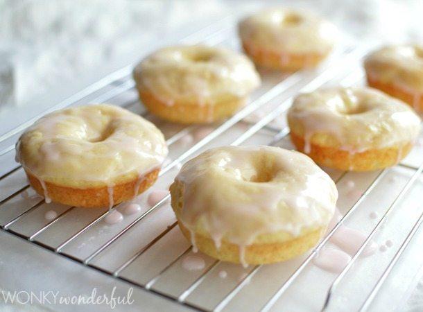 glazed baked donuts on cooling rack