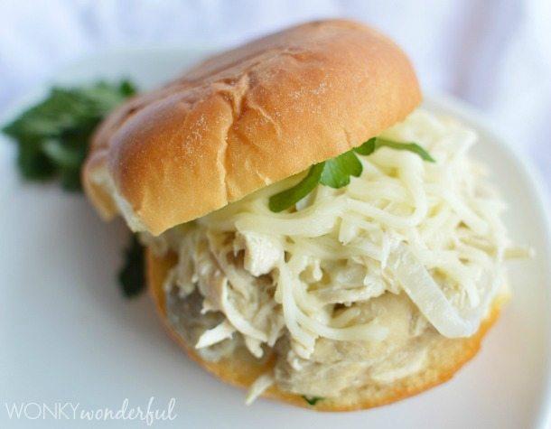 Creamy CrockPot Chicken and Artichoke Sandwiches - slow cooker recipe - wonkywonderful.com