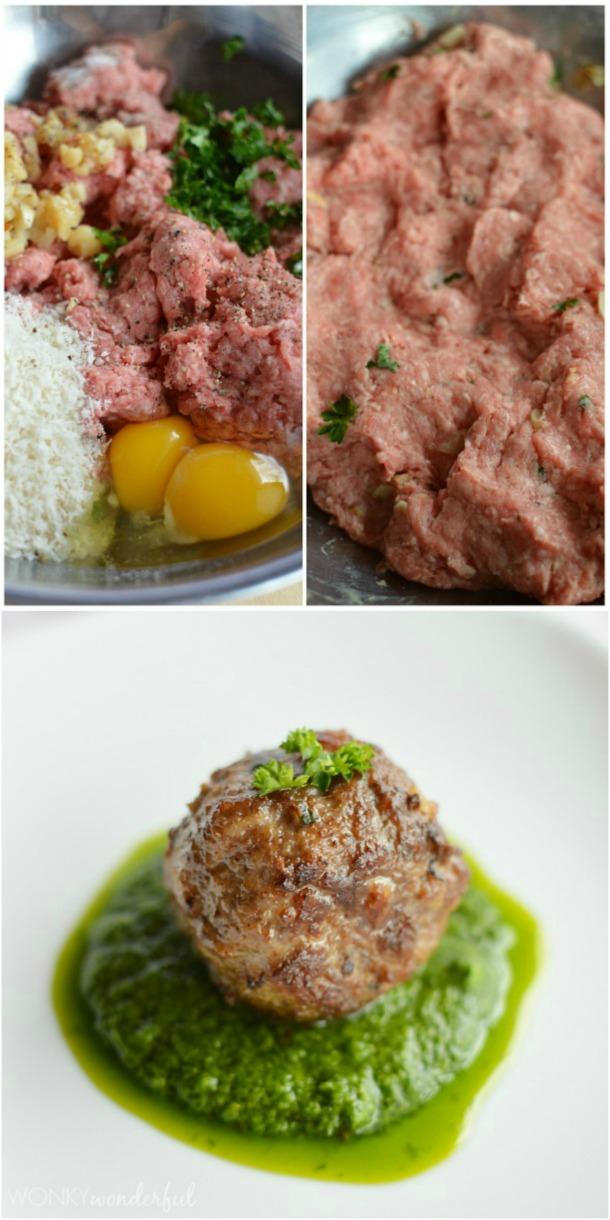three photos - meatball ingredients, mixed meatball ingredients and cooked meatball in green sauce