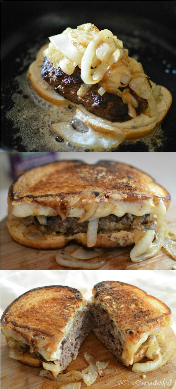 three photos - bread topped with cooked patty and cooked onions, whole cooked patty melt, patty melt cut in half