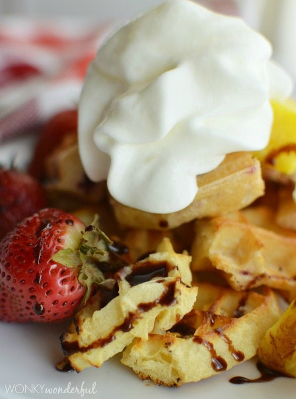 Summer Dessert Recipe with Eggo - Grilled Fruit & Waffles topped with Chocolate Sauce & Whipped Cream - wonkywonderful.com