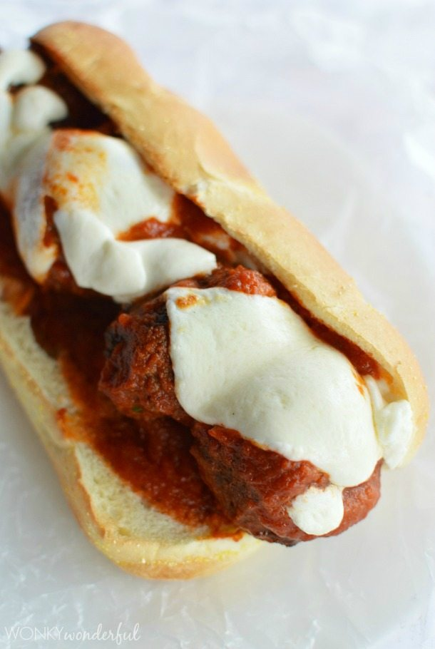 prepared meatball sandwich topped with melted mozzarella