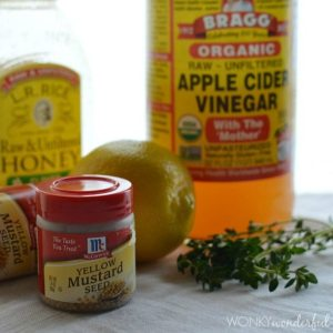 Homemade Mustard Recipe with honey, lemon and thyme. wonkywonderful.com
