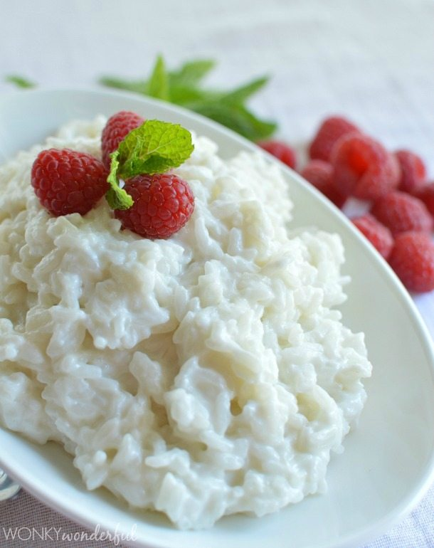 Dairy Free Rice Pudding Recipe with Mint and Raspberries : vegan : vegetarian : dessert : gluten free : from scratch