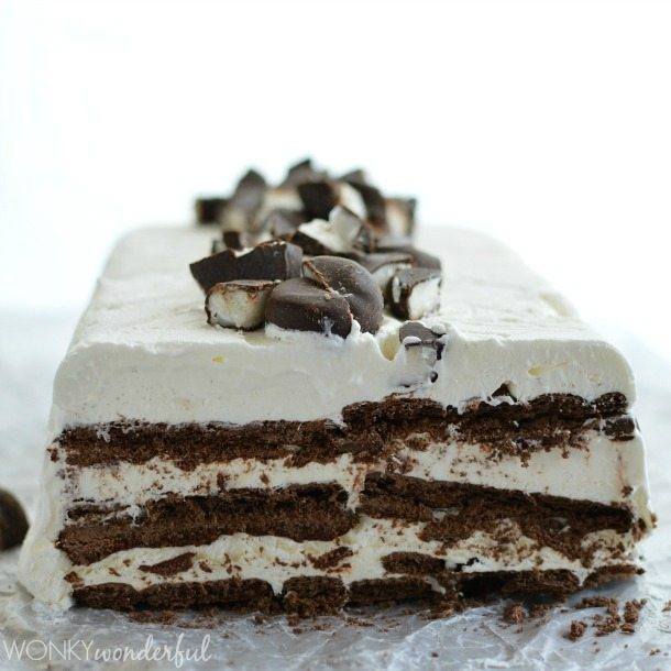 sliced cake showing layers of brown and white inside
