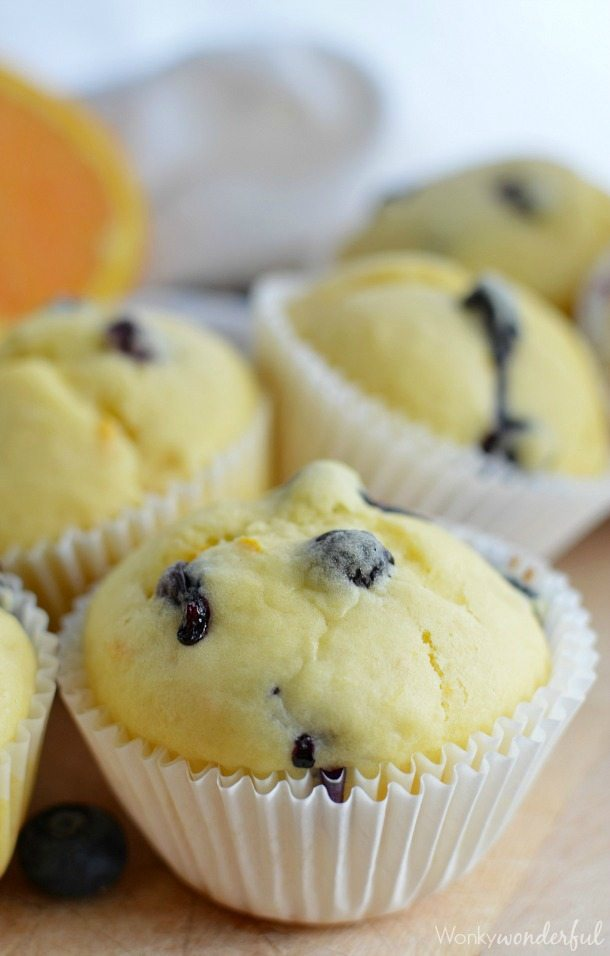 yellow muffin with blueberries in white muffin. papers