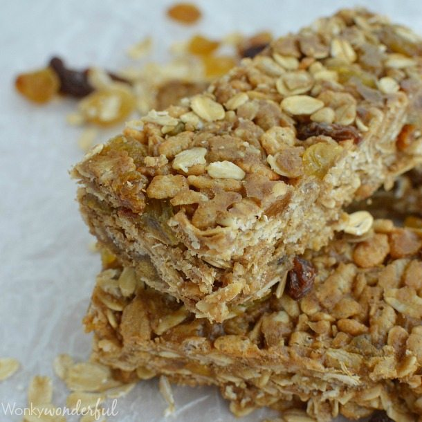No-Bake Homemade Nut Free Granola Bars : Cinnamon Raisin : Healthy Kid Snack : Gluten Free Recipe
