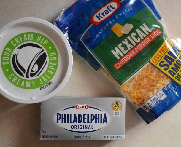 shredded cheese, cream cheese and sour cream dip