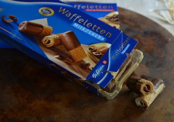 package of chocolate dipped wafer cookie rolls