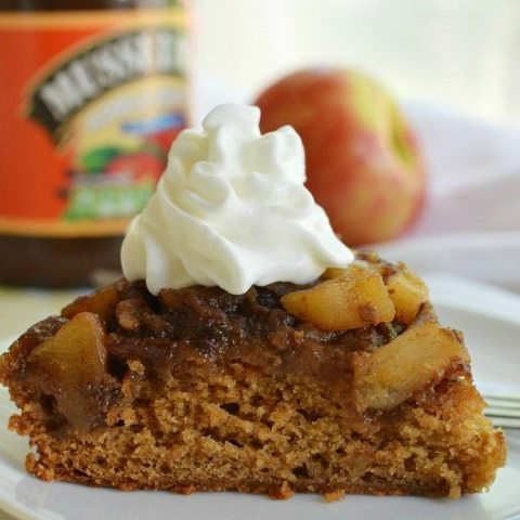 Upside Down Apple Cake Recipe - This dessert cake is made with apple butter. With a caramel like topping of fresh apples and pecans. #BetterWithAppleButter
