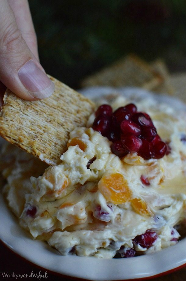 Pomegranate Apricot Cream Cheese Dip Recipe - This dessert dip is perfect for a holiday or Christmas treat! Enjoy with crackers or spread on a bagel for a delicious breakfast.