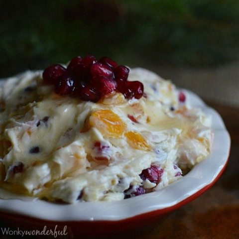 creamy dip filled with red and orange chunks topped with pomegranate seeds