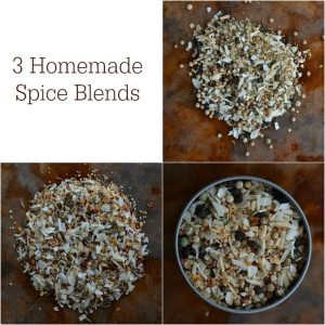 three photos of spice blend mixtures - text: 3 homemade spice blends
