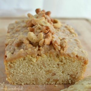 Brown Butter Glazed Cashew Bread - A moist quick bread recipe full of nuts and topped with a brown butter glaze!