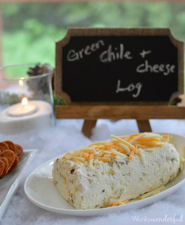 3 Easy Dip Recipes for holiday parties. Green Chile and Cheese Log