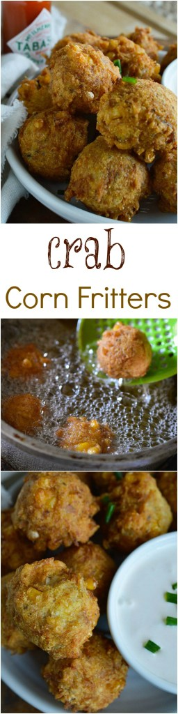 Crab Corn Fritters Recipe - These deep fried fritters are full of crab, corn and cajun spices. Serve with creamy Tabasco dipping sauce.