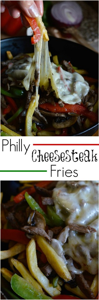 Philly Cheese Steak Fries Recipe. All of the delicious flavors of a Philly Cheesesteak Sandwich served over crisp french fries! Peppers, Mushrooms, Cheese and Steak. This makes a great party food or dinner!