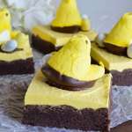 Peeps Chocolate Cake Bars Recipe - This fun and easy treat is perfect for an Easter Dessert! Delicious bars made with cake mix and topped with buttercream frosting. Decorate with Peeps and Robin's Eggs!