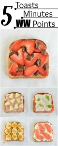 5 Minute Healthy Snack Ideas: 5 Toast Snacks, 5 Minutes Each, 5 Weight Watchers Points Each. Great for a satisfying breakfast, lunch or snack!