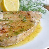 Pan Seared Tuna Steak with Lemon Dill Sauce