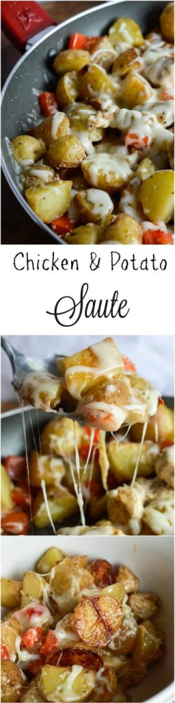 Make this Cheesy Potato Chicken Dinner on busy weeknights! This one-pan recipe is quick, easy and full of flavor!