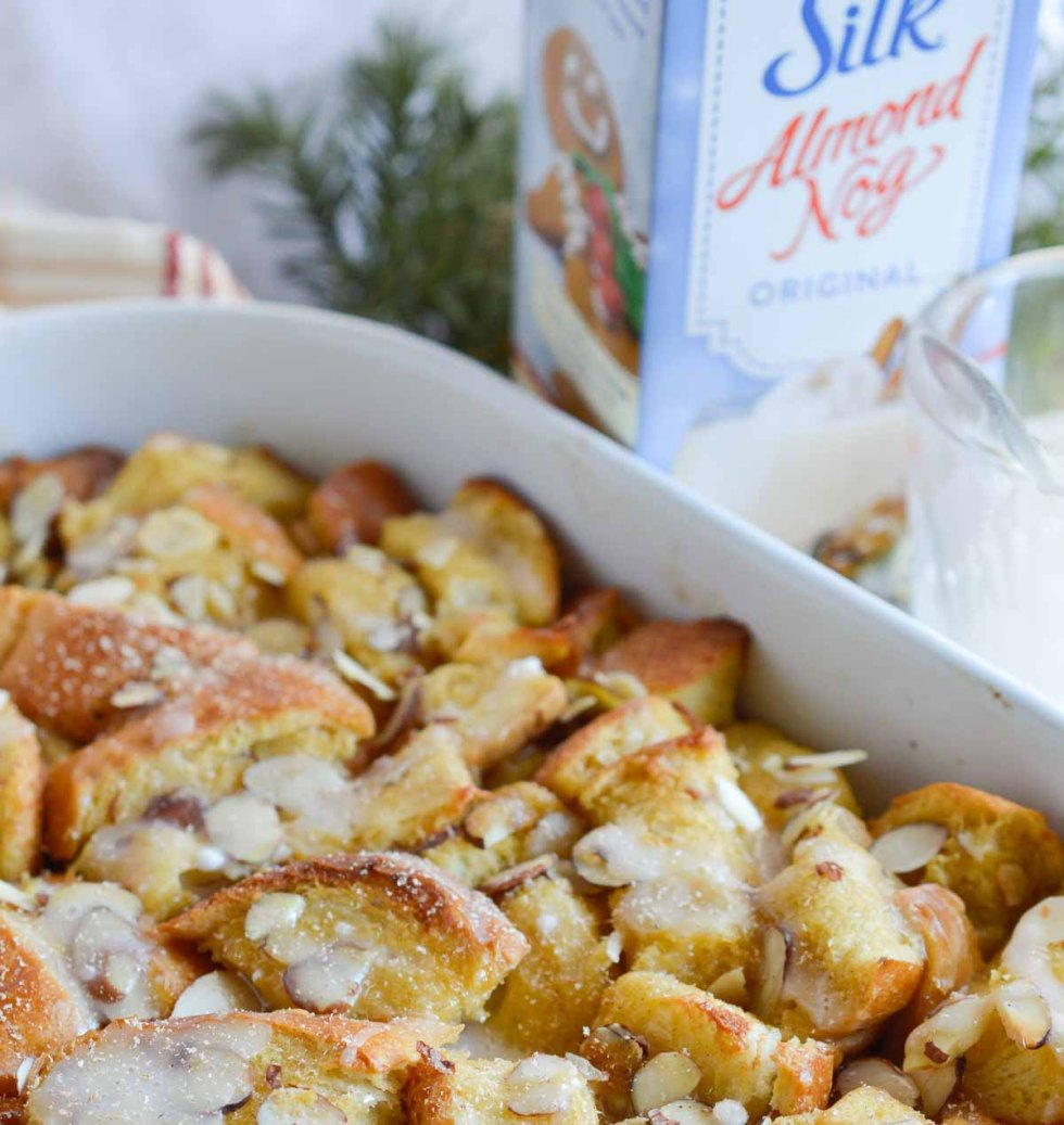 This Dairy Free Egg Nog French Toast Casserole with egg nog glaze is perfect for feeding a crowd this holiday season!