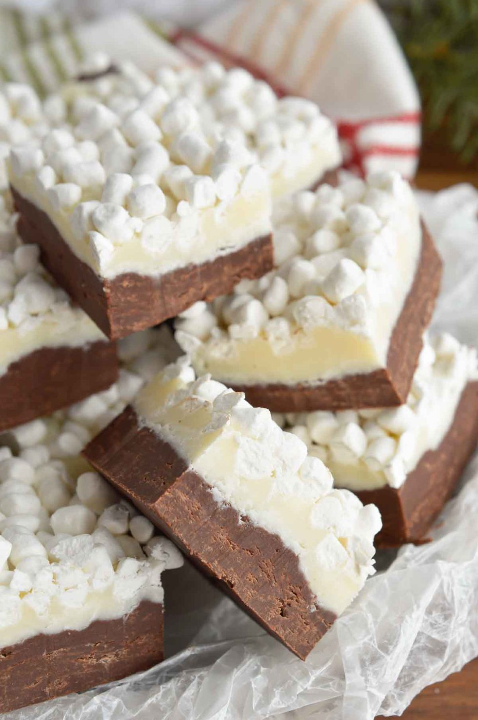layered chocolate fudge squares