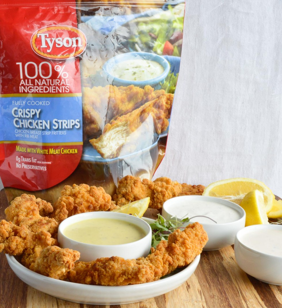 These 3 Unique Dip Recipes are perfect for your game day party spread! Serve these delicious breaded chicken strips with Creamy Lemon Pepper Dip, Honey Mustard Sauce and my Secret Fry Sauce for a guaranteed crowd pleaser!