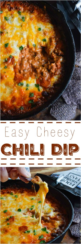 Easy Cheesy Chili Dip is the ultimate appetizer! Make this Homemade Chili Cheese Dip Recipe for parties, holidays or game day.