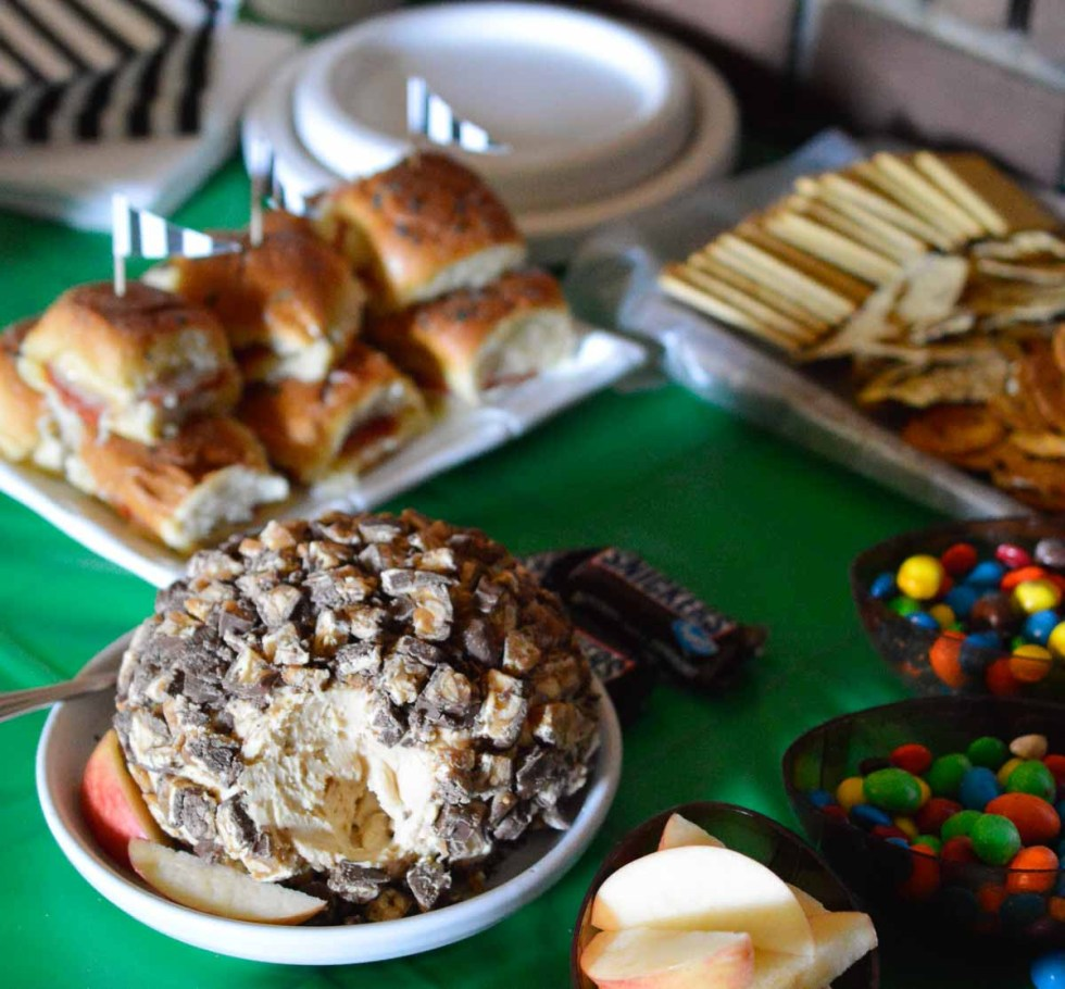 This Sweet Snickers Cheese Ball Recipe is perfect for your game day party! This dessert dip will be a crowd favorite!
