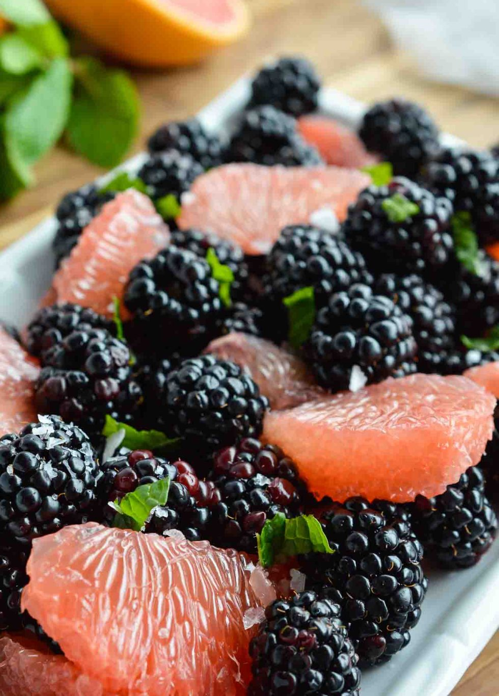 grapefruit segments, blackberries and mint