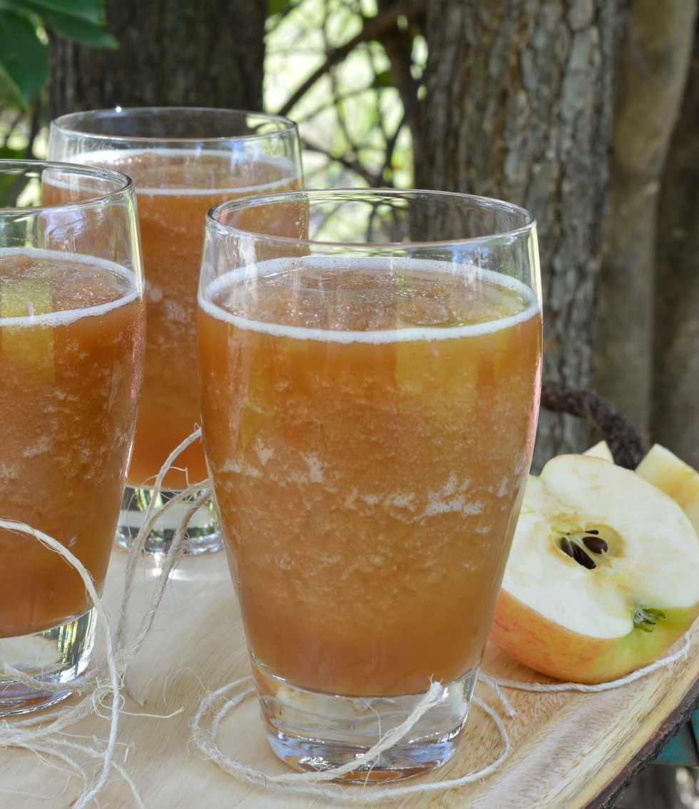 Celebrate the return of Spring and Summer with this Frozen Apple Daiquiri Recipe! A unique twist on a favorite summertime cocktail. Apple, rum and amaretto come together in this super refreshing drink! CHEERS!