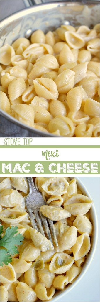 This super easy macaroni and cheese recipe is ready in 30 minutes or less! Mexi Style Stovetop Mac and Cheese is a blend of cheeses, taco seasoning and green chiles for the ultimate comfort food dinner. With a three cheese blend, Velveeta and Mexican Crema this is sure to be the ooey-gooey-cheesy deliciousness that you crave!