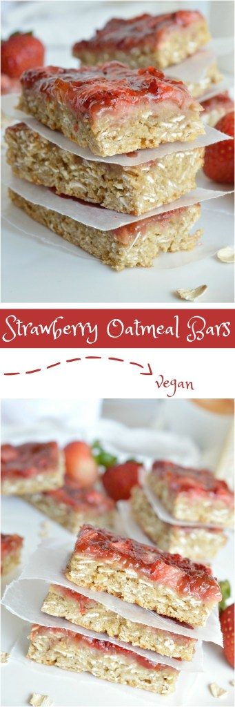 You don't have to be vegan to enjoy these Strawberry Oatmeal Vegan Breakfast Bars. The chewy oatmeal bars topped with fresh strawberries and jam are a nutritious way to start your day! This also makes a great healthy snack or breakfast on the go! A great vegan recipe that everyone will love!