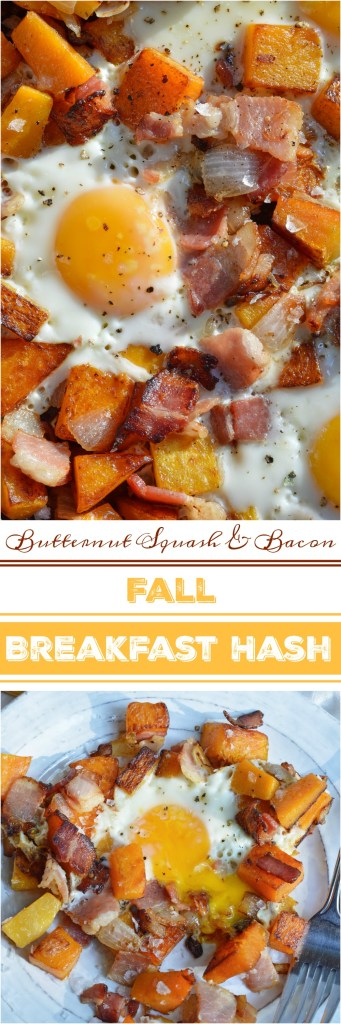 The air is getting chilly and it is time for cozy comfort food. This Fall Breakfast Hash Recipe will get you going in the morning! It is an easy breakfast recipe made with butternut squash, bacon, onions and eggs. #whole30recipes #paleorecipes #whole30 #paleo