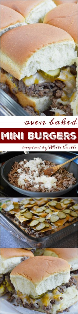 These Oven Baked Mini Burgers are inspired by my favorite fast food, White Castle and Krystal Burgers. This copycat recipe of my ultimate craving is perfect for feeding the family or a large crowd on game day! Don't forget the fries and sweet tea!