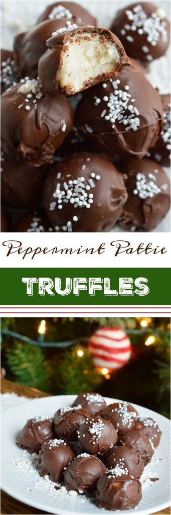 It's time for holiday treat platters and homemade gifts. These No-Bake Peppermint Pattie Chocolate Truffles will be the star of any Christmas dessert tray! Cool peppermint filling is shaped into balls and coated with chocolate then topped with sprinkles.